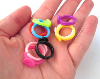 Assorted Children's Plastic Ring base with a 9mm glue pad size 3, pick your amount, A385