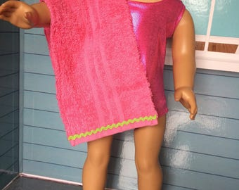 18 inch doll clothes -pink swim suit bathing suit and towel