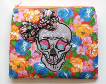 Skull Bow Makeup Bag Vanity Case Vintage Floral Gobbolino