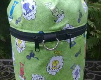 Sheep knitting bag, drawstring bag, knitting in public bag, small project bag Sheared Sheep, Kipster