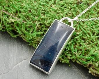 Leland Blue Necklace. Antique Foundry Glass Pendant. Silver Necklace. Michigan Stone Pendant. Silver Cabochon Jewelry. Leland Blue Cabochon.
