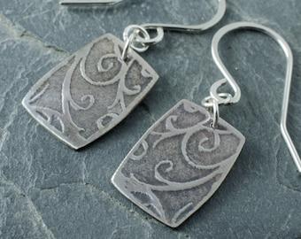 Tendril Earrings. Sterling Silver Earrings. Floral Earrings. Vine Pattern Jewelry. Oxidized Earrings.