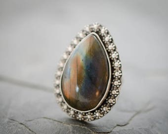 Labradorite Ring. Labradorite Gemstone. Custom Fit Ring. Teardrop Cabochon. Sterling Silver Statement Ring. Custom Size. Custom Sizing