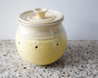 Garlic Holder Jar - glazed in yellow and oatmeal - great for garlic storage - garlic keeper