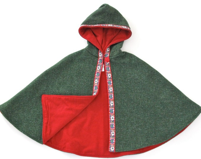 Girls' Cape, Green Alpine Hooded Cape Lined with Red Flannel and Trimmed with Floral Ribbon, Girls' Capelet, Wool Cape, Girls Coat, Size 5/6