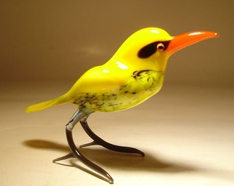 Handmade  Blown Glass Figurine Art Yellow Golden Oriole Bird Figure
