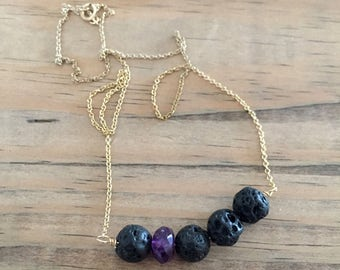 lava bead diffuser necklace for essential oils with an amethyst gemstone - gold filled