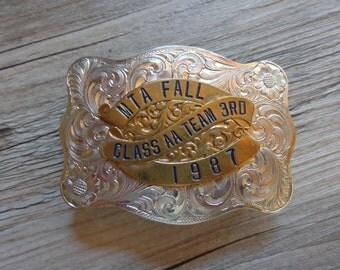 Trapshooting MTA Fall Class AA Team 3rd 1987 Silver & Gold Finish Belt Buckle