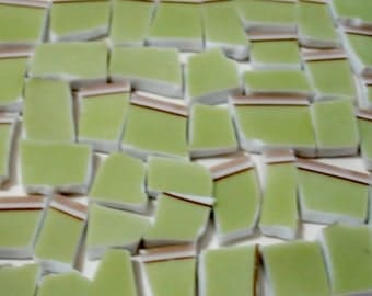 Mosaic Tile Pieces 100 Chartreuse Green Broken Plate Tessera Pieces!