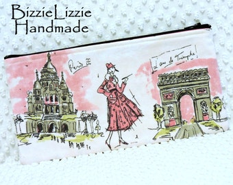 CLEARANCE SALE - Extra Large Handmade Tres Chic Paris in Pink and Black Zipper Pouch, Paris Make Up Bag