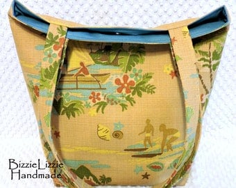 Large Double Straps Bahamas Fabric Beach Tote Satchel Bag Carryall Purse