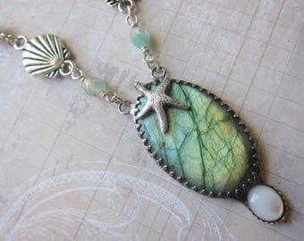 Amphitrite of the Waves II - Magical Aqua Labradorite Pendant with Starfish Accent and Faux Mother of Pearl
