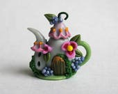 Handmade Miniature Whimsy Fairy House Teapot by C. Rohal