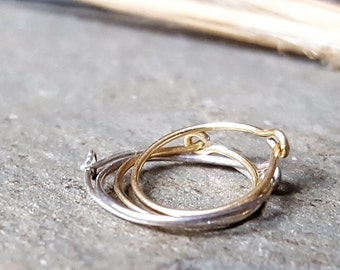 24g hoops-- sterling silver, 14k gold or niobium hoops-- primitive series-- handmade by thebeadedlily