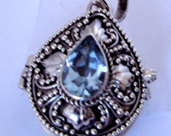 Sky Blue Topaz Tear Drop Locket Pendant Bali Sterling Silver Keepsake Chain Necklace PL12