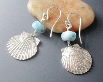 Fine Silver Shell Larimar Sterling Silver Earrings