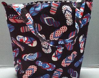 Farmers Market Tote Patriotic Flip Flops Fabric