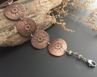 Daisy Chain Recycled Copper Bracelet