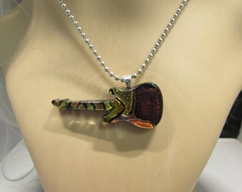 La Grange Dichroic glass guitar necklace inspired by ZZ Top