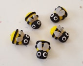 Polymer Clay Bumble Bee Beads/ Set Of Five/ Handmade/ Jewelry Supplies/ Small Beads/ Yellow And Black/ Bees/ Beading
