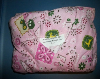 Pink John Deere Flannel Pajamas Size 2 - 3