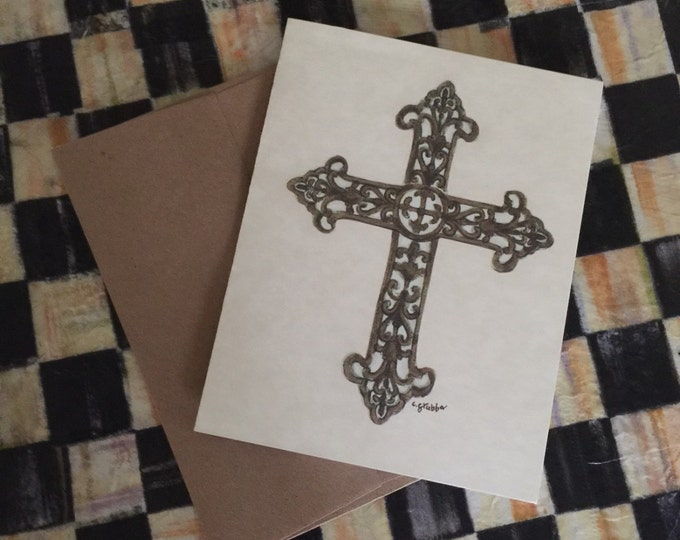 "Christian Note Cards -6 pack ""For His Glory"" Cindy Grubb designed Artwork- Budded Cross, Paper Ephemera Style, Ready to Gift, FREE BOOKMARK"