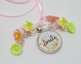 FREE SHIP Pink Ribbon Smile Word Charm Beaded Bookmark Book Thong