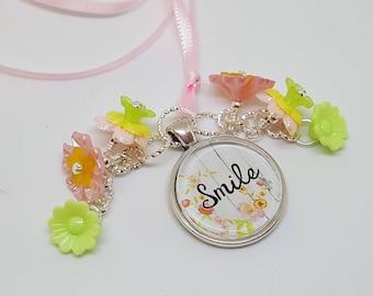 Pink Ribbon Smile Word Charm Beaded Bookmark Book Thong Free Ship