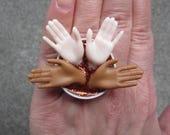 Ebony and Ivory   - upcycled Barbie hand bottle cap ring