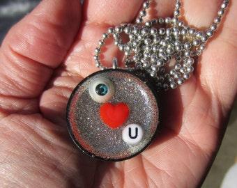 Eye Heart U - upcycled bottle cap pendant -black