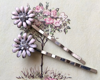 Pink Daisy Hair Pins, Silver Tone, Upcycled Vintage Earrings, Set of Two