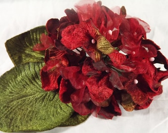New Velvet Hydrangeas Red, Velvet Leaves, Millinery Flower Crown Bridal Wedding Corsages Boutineers Bouquets Crafts