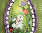RESERVED FOR AMANDA - Crochet Easter Ornament - Teardrop Bunny - Recycled Vintage Greeting Card
