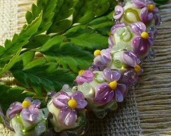 SRA Lampwork Handmade Glass Beads Catalinaglass Purple Lilacs
