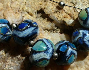 SRA Lampwork Handmade Glass Beads by Catalinaglass   Ice Storm