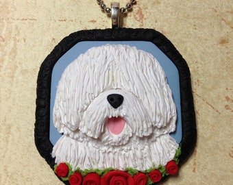 Old English Sheepdog Necklace - Handsculpted Clay Sheepdog Pendant - Unique Handmade Sheepdog Jewelry