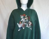 SALE Looney Tunes Warner Bros Sweatshirt Hoodie, 90s Acme clothing, bugs bunny taz coyote