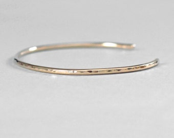 14K Gold Cuff Bracelet Solid Gold 2mm Wide Gold Cuff Minimal Bracelet Solid 14K Gold Bracelet Hammered Cuff Wife Gift Gift for Her