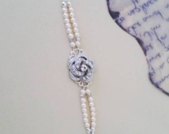 Pearl Bracelet with Rose brooch