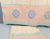 Vintage pillow cases, southwest print pillowcases, standard size, yellow pastels print, desert decor, boho decor, 1980s bedding