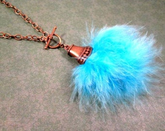 Feather Necklace, Aqua Ostrich Feather and Brass Pendant Necklace, FREE Shipping U.S.