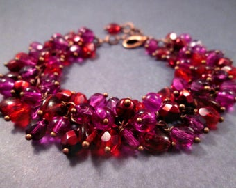 Cha Cha Style Bracelet, Sangria Sweetheart Bracelet, Berry Reds and Purples, Copper Charm Bracelet, FREE Shipping U.S.