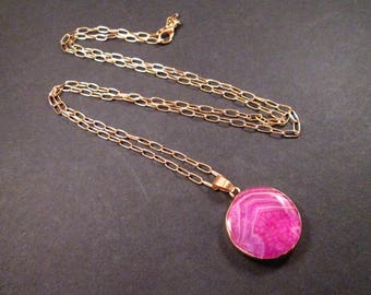 Gemstone Necklace, Agate Slice Necklace, Hot Pink Stone Pendant Necklace, Gold Chain Necklace, FREE Shipping U.S.