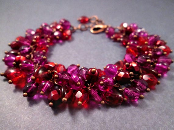 Cha Cha Style Bracelet, Sangria Sweetheart Bracelet, Berry Reds and Purples, Copper Charm Bracelet, FREE Shipping U.S.