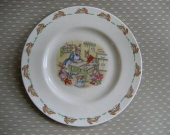 Vintage Bunnykins child's plate Royal Doulton English fine bone china rabbits baking