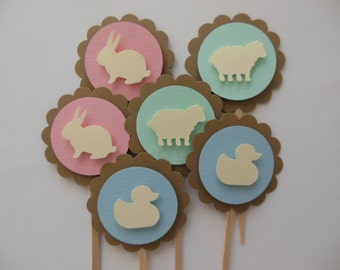 Animal Cupcake Toppers - Bunnies, Ducks and Lambs - Pink, Blue and Mint Green - Baby Shower Decorations - Birthday Decorations - Set of 6