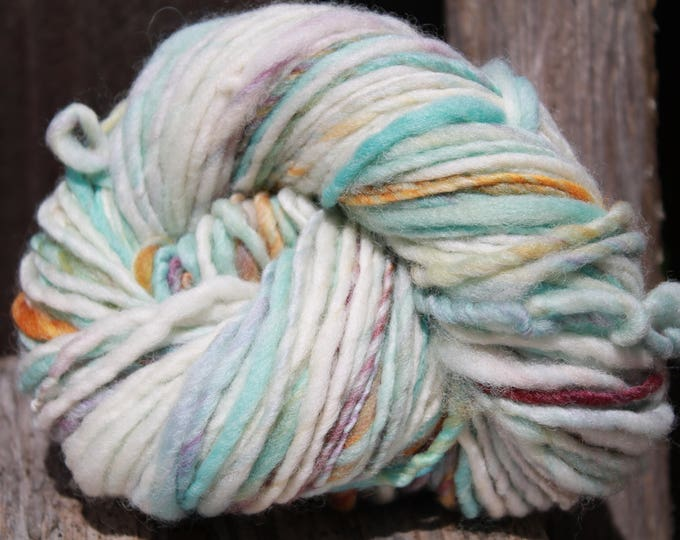 Handspun and dyed Falkland yarn. Next to skin soft. Appx. 4oz /140 yards. Heavy Worsted Weight. F167