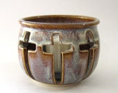 Candle Holder Three Crosses Motif with Votive - Coffee Latte Glaze