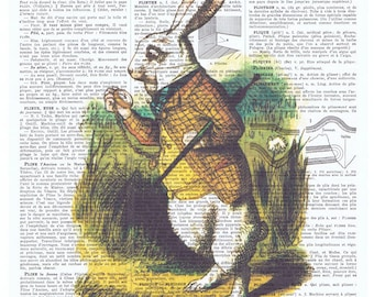 Alice in Wonderland,White Rabbit.Hare.Colour.Antique French Book Page.art,buy 3 get 1 FREE,deco.pocket watch.bunny.classic.mixed media.child