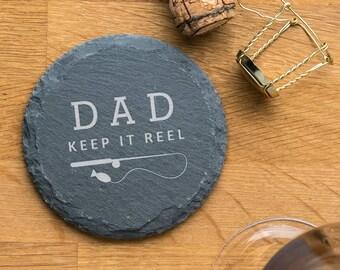 Personalised Funny Fishing Pun Slate Coaster